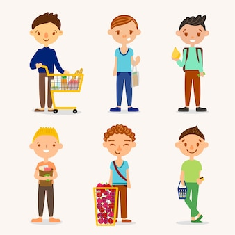 Pessoas com pacote de comida