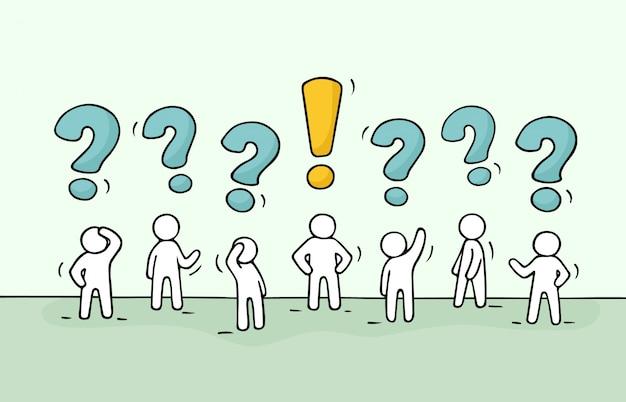 Pessoas com perguntas e pontos de exclamação.