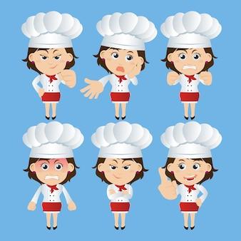 Pessoas com personagens de chefs em diferentes poses