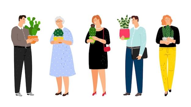 Pessoas com plantas caseiras definidas