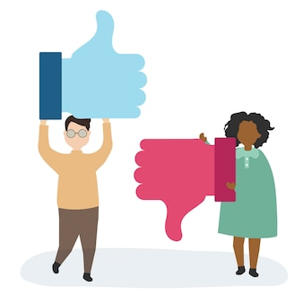 Pessoas, com, polegares cima, símbolo