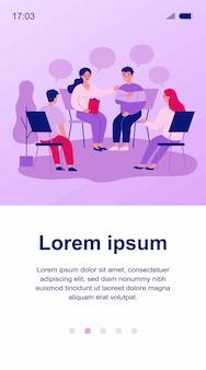 Pessoas com problemas, em reunião de apoio psicológico. pacientes sentados em círculo, conversando. ilustração para terapia de grupo, aconselhamento, psicologia, ajuda, conceito de conversação