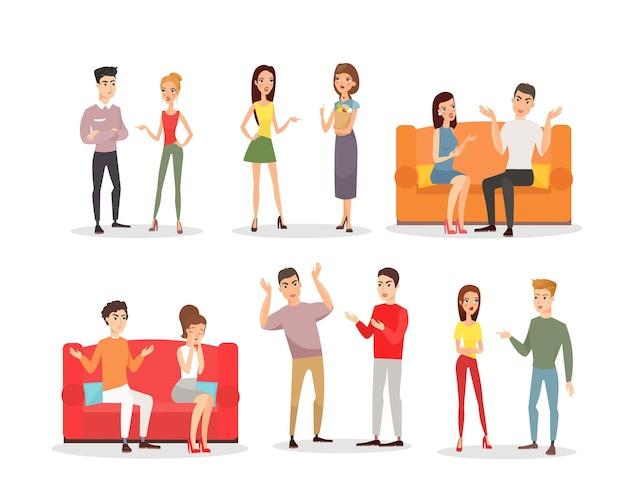 Pessoas com raiva, casais gritando. conflito e estresse, personagens tristes