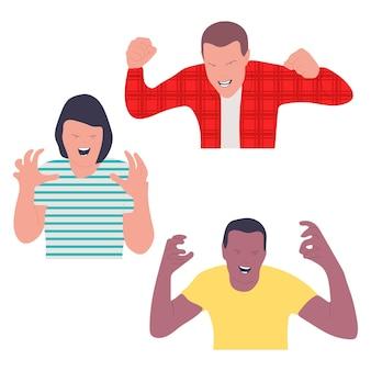 Pessoas com raiva emoções vector personagens de desenhos animados conjunto isolado em um fundo branco.