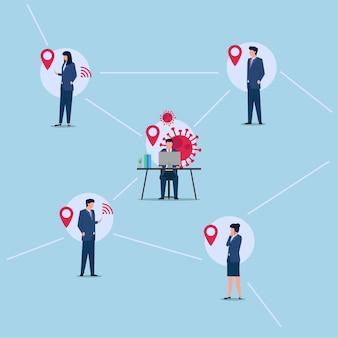 Pessoas com roupa de escritório em ilustração de contato de rastreamento de vírus.