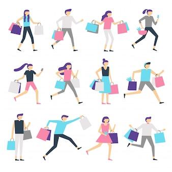 Pessoas com sacolas de compras. viciada em compras homem e mulher animada carregando saco. pessoas felizes compram presentes no conjunto de caracteres de vetor de venda