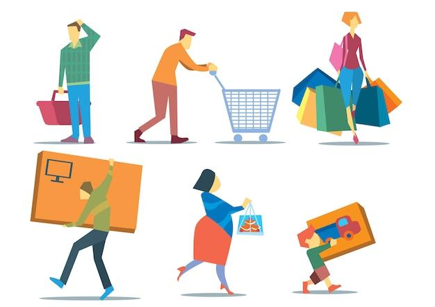 Pessoas com sacolas de compras