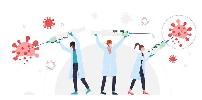 Pessoas com seringas lutando contra o coronavírus