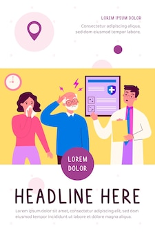 Pessoas com sintomas de doença visitando o médico