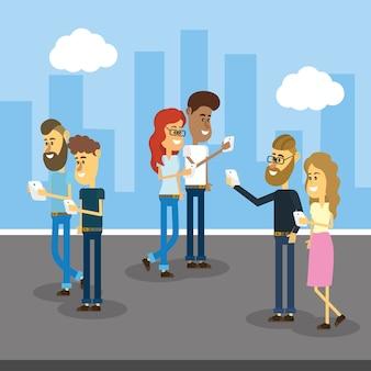 Pessoas com smartphone e tecnologia de conexão social