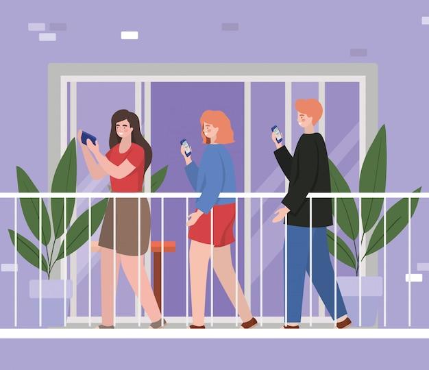 Pessoas com smartphone na varanda da janela do edifício roxo, arquitetura e ilustração do tema de quarentena