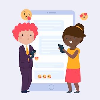 Pessoas com smartphones e emoticons