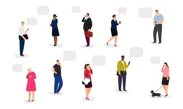 Pessoas com smartphones. empresários falam ao telefone