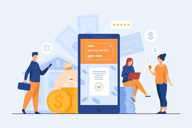 Pessoas com smartphones usando o aplicativo bancário móvel