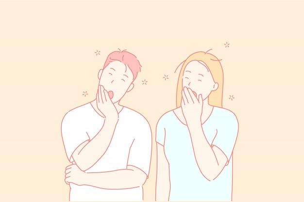 Pessoas com sono, amigos cansados, conceito de casal bocejando