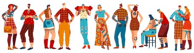 Pessoas com tatuagens, conjunto de personagens de desenhos animados em branco, mão desenhada homem e mulher, ilustração
