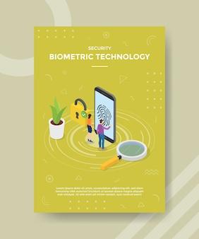 Pessoas com tecnologia biométrica de segurança ficam na frente do cadeado do smartphone para o modelo de banner e folheto
