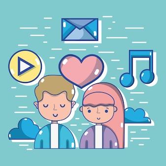 Pessoas com tecnologia de mídia social para comunicação