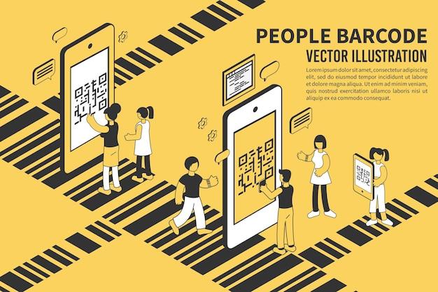 Pessoas com telefones celulares lendo código de barras isométrico
