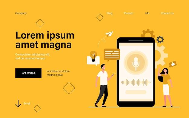 Pessoas com telefones celulares usando a página de destino do software assistente de voz inteligente em estilo simples