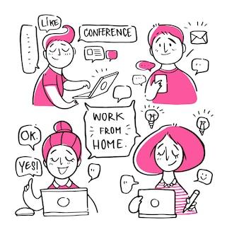 Pessoas com trabalho de casa