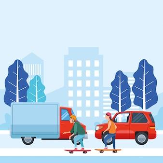 Pessoas com veículos