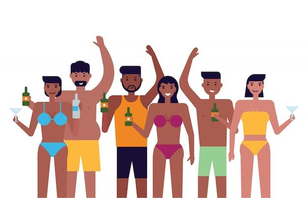 Pessoas, com, verão, praia, partido