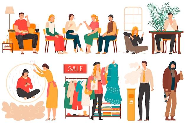 Pessoas com vício e maus hábitos, conjunto de personagens de desenhos animados em branco, ilustração