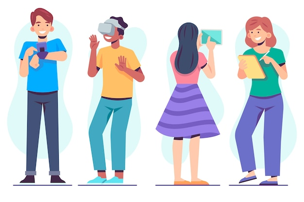 Pessoas com vida virtual de dispositivos de tecnologia