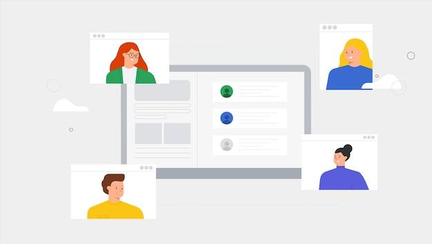 Pessoas com videochamada e mensagens conversando, consultoria, seminário, conceito de treinamento online.