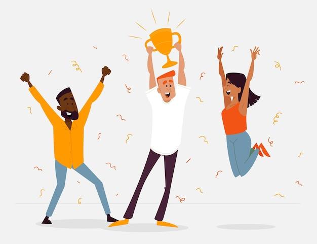 Pessoas comemorando a conquista de uma meta