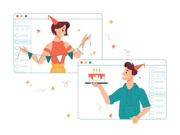 Pessoas comemorando a festa de aniversário online durante a quarentena, parabenizando a garota com um dia especial