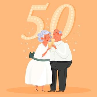 Pessoas comemorando aniversário de casamento de ouro