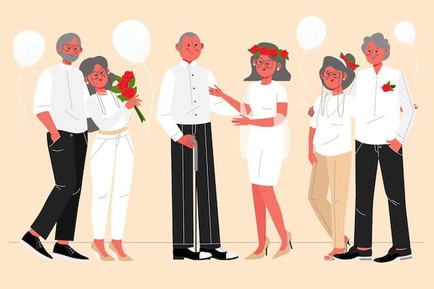 Pessoas comemorando aniversário de casamento de ouro Vetor Premium