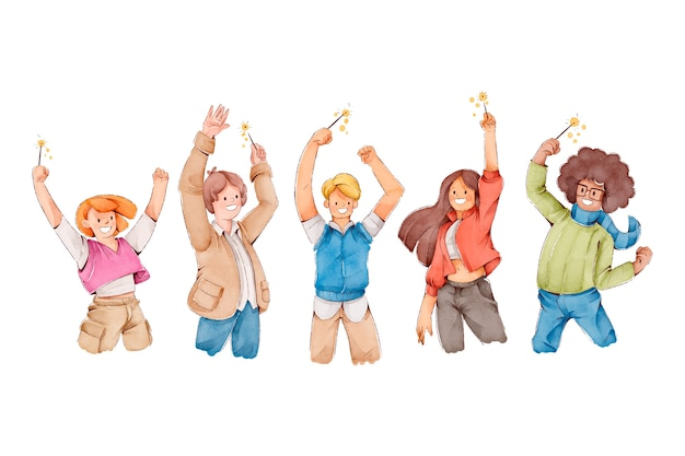 Pessoas comemorando junto com as mãos no ar