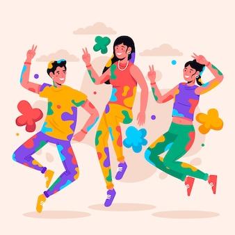 Pessoas comemorando juntos o festival de holi ilustrado