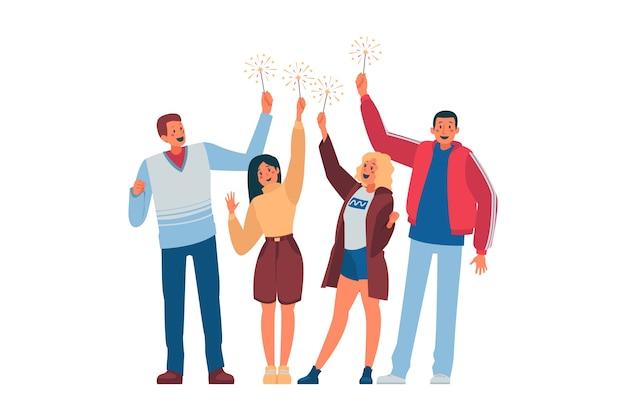 Pessoas comemorando juntos