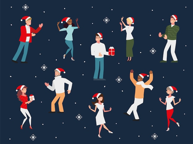 Pessoas comemorando o natal dançando com presentes e ilustração de chapéus de papai noel