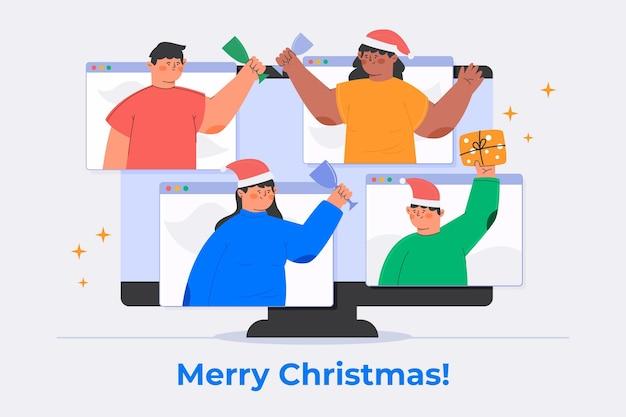 Pessoas comemorando o natal online devido à quarentena ilustrada