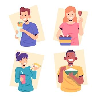Pessoas comendo comida e sorrindo