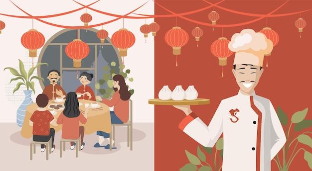 Pessoas comendo em restaurante chinês vector ilustração plana chef segurando