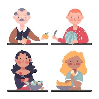 Pessoas comendo frutas saborosas