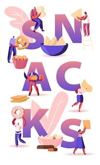 Pessoas comendo o conceito de lanches. minúsculos personagens masculinos e femininos desfrutando de diferentes aperitivos secos pretzel biscoitos chips doces e donuts cartaz banner flyer folheto. ilustração em vetor plana dos desenhos animados