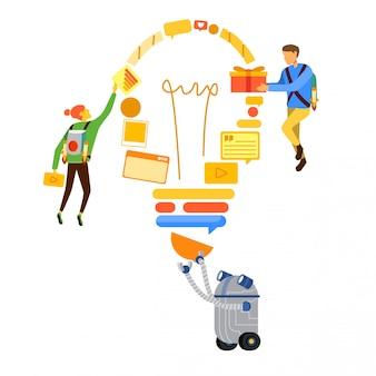 Pessoas, compartilhar, idéia, conceitual, ilustração
