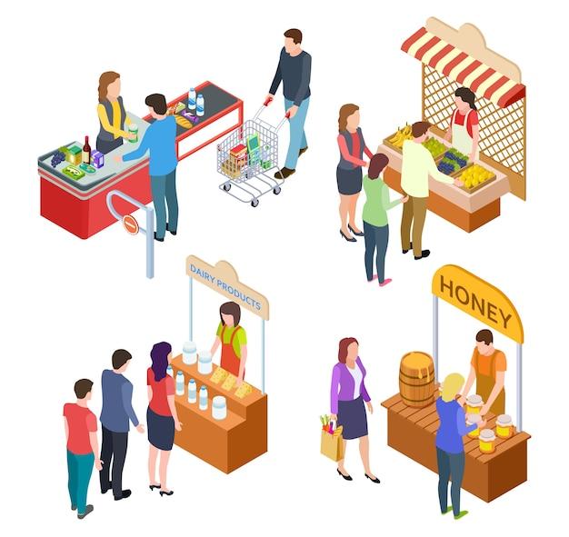 Pessoas compram comida