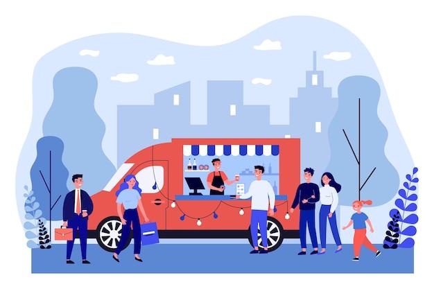 Pessoas comprando café para viagem no caminhão.