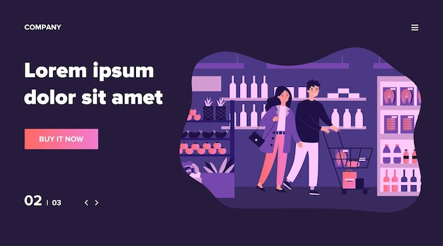 Pessoas comprando comida na ilustração de supermercado. clientes de desenho animado com carrinho andando pelo corredor, escolhendo produtos e produtos de mercearia na loja. conceito de varejo e consumismo.