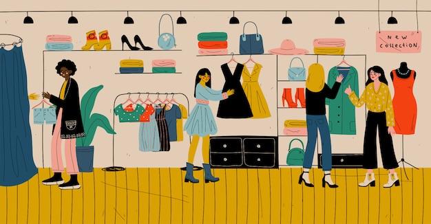 Pessoas comprando em ilustração de loja de varejo