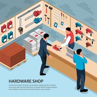 Pessoas comprando ferramentas de construção na loja de ferragens 3d isométrico