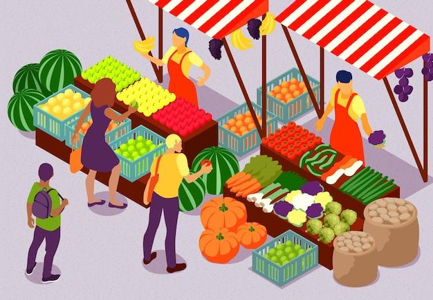 Pessoas comprando frutas e vegetais frescos no mercado de fazenda ao ar livre. composição isométrica